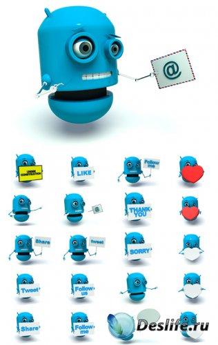 Голубой робот - клипарт
