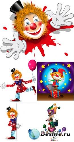Веселый клоун в векторе