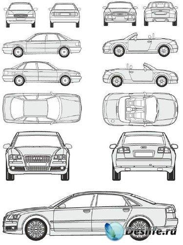 Автомобили Audi - векторные отрисовки в масштабе