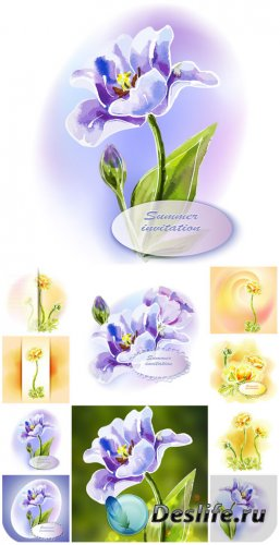 Векторные пригласительные с цветами / Vector invitation with flowers