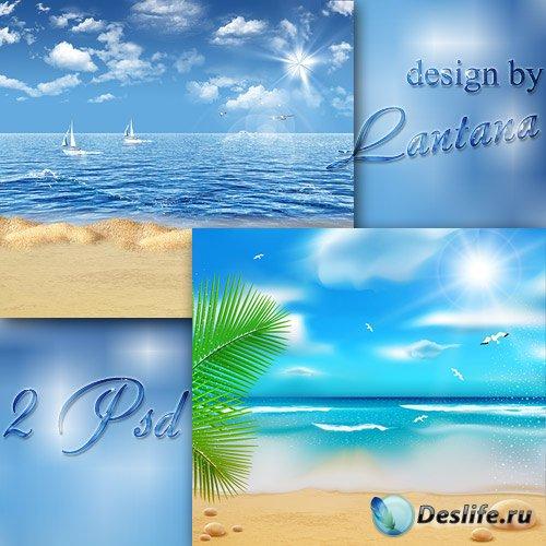 Многослойные фоны - Лето, море, пляж