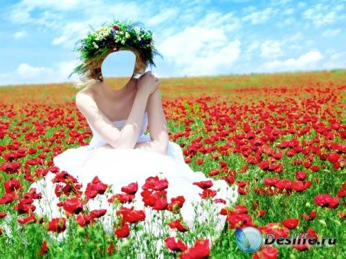 Костюм для Фотошопа PSD - Живописная фотосессия в цветущих маках