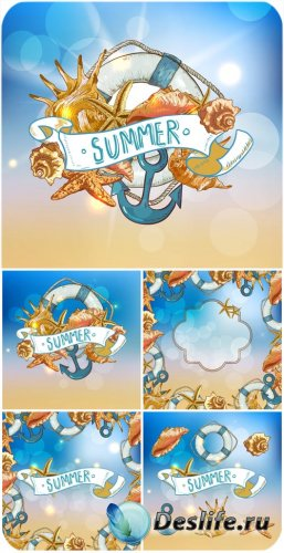 Морские векторные фоны, лето / Sea vector backgrounds, summer backgrounds