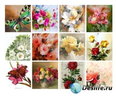 Бабочки и цветы для творчества и декупажа