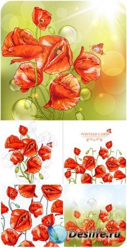 Векторные фоны с красными маками / Vector background with red poppies