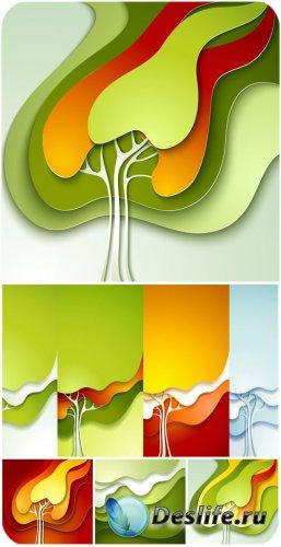 Векторные фоны с деревьями, абстракция / Vector background with colorful tr ...