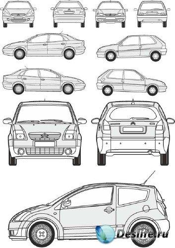Автомобили Citroen - векторные отрисовки в масштабе