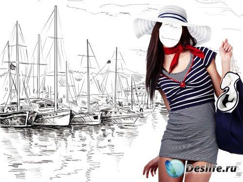 Женский psd костюм - Симпатичная девушка и рисунок