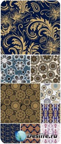 Цветочные фоны в векторе, золотые узоры / Floral backgrounds in vector gold ...