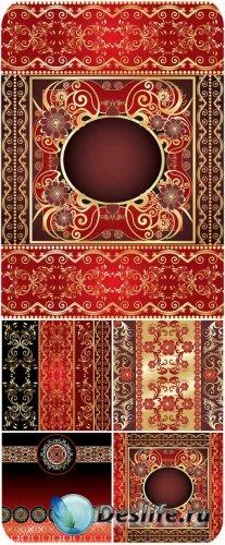 Красные векторные фоны с золотыми узорами / Red vector background with gold ...