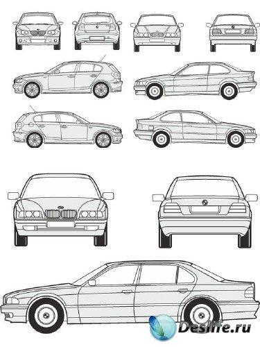 Автомобили BMW - векторные отрисовки в масштабе