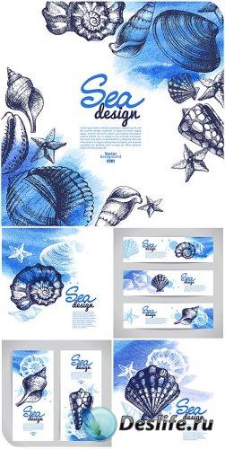Морской вектор, фоны и баннеры / Sea vector backgrounds and banners