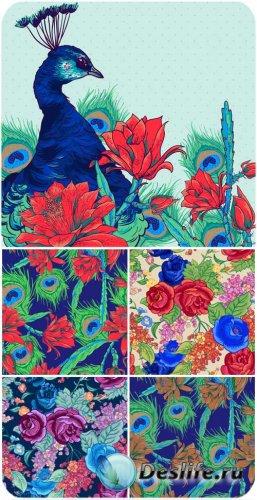 Векторные фоны с павлином и цветами / Vector background with flowers and pe ...