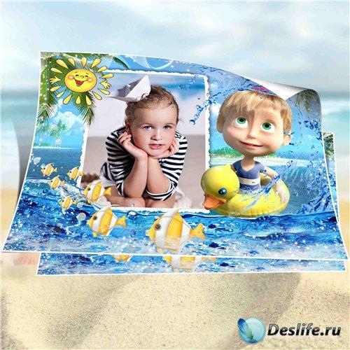 Морская рамка для детских фотографий – С Машей