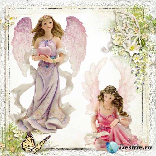 Ангелы и эльфы – статуэтки на прозрачном фоне