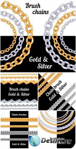 Золотые и серебрянные цепи в векторе / Gold and silver chain vector
