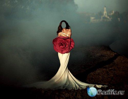 Костюм для Фотошопа - Фотосессия в красивом платье с розой