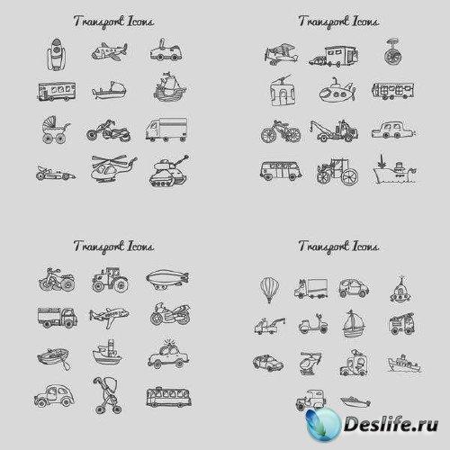 Комплект детских иконок на тему транспорта в векторе