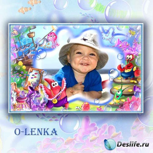 Детская рамка для фотошопа - Друзья спанч боба