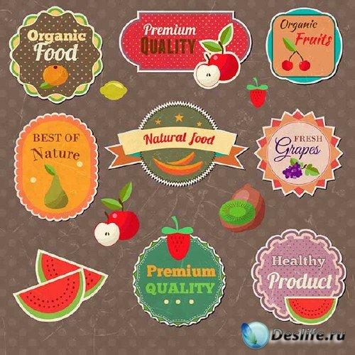 Подборка векторных ярлыков и стикеров на тему фруктов