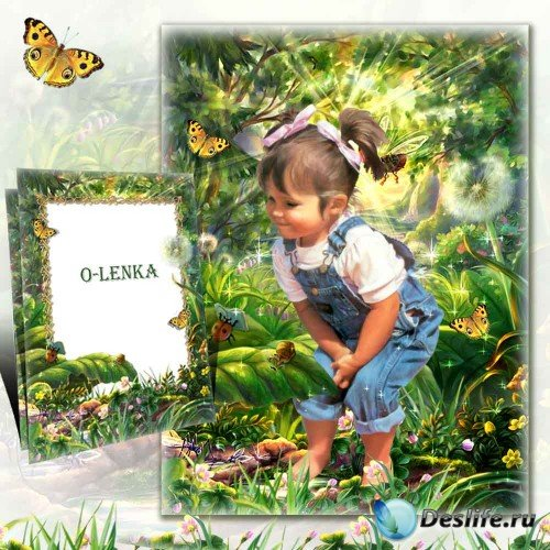 Детская рамка для фотошопа - На лесной полянке