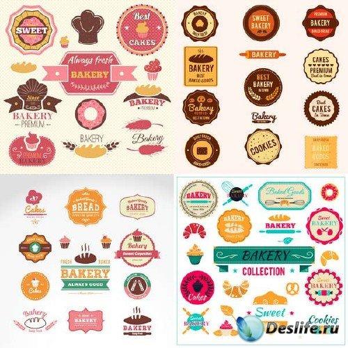 Векторные бирки и эмблемы к хлебопекарным изделиям