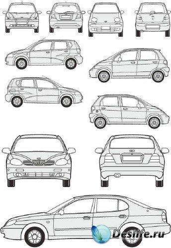 Автомобили Daewoo - векторные отрисовки в масштабе