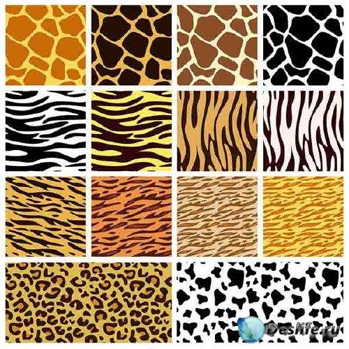 Векторные бэкграунды с оттенком кожи различных животных