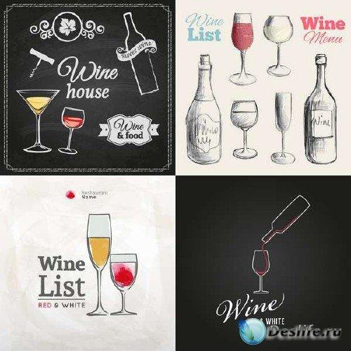 Винные бутылки, бокалы и стикеры в векторном клипарте