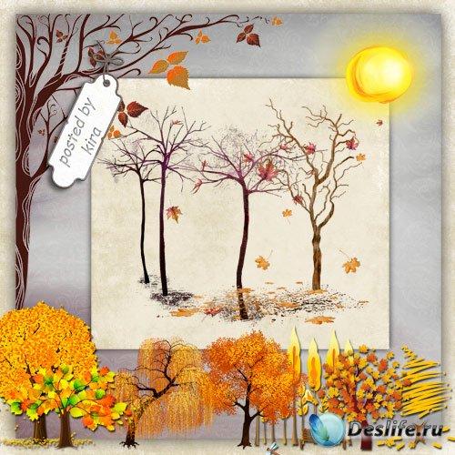 Клипарт - Осенние деревья на прозрачном фоне