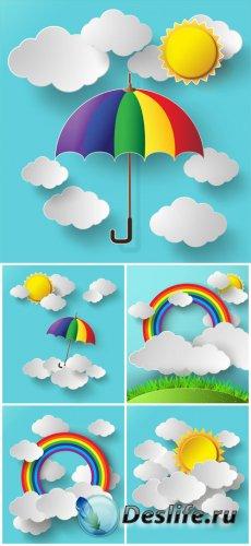 Векторные фоны, облака и радуга / Vector backgrounds, clouds and a rainbow