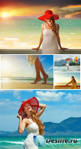 ������� �� ���������, ������� ������� / Girls on the coast, seascapes - stock photos