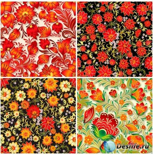 Цветочные орнаменты - векторные фоны