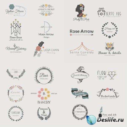 Ассорти с винтажными логотипами в векторном исполнении
