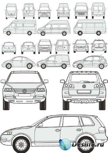 Автомобили Volkswagen - векторные отрисовки в масштабе