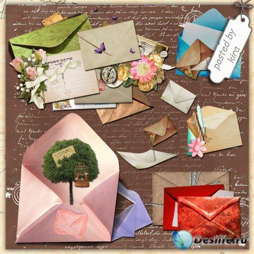 Клипарт - Конверты и почтовые открытки на прозрачном фоне