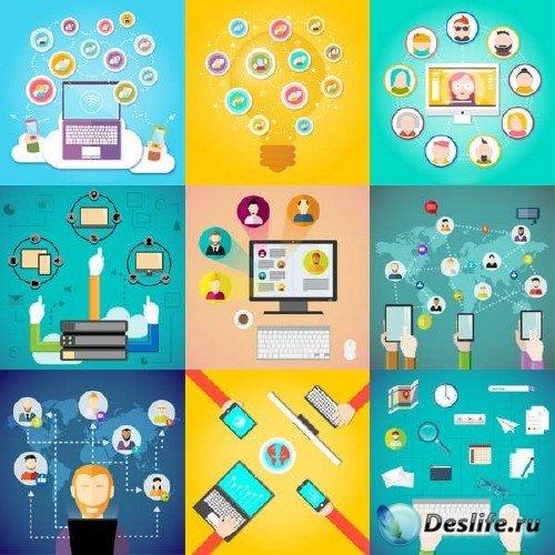 Вектор - Социальные медиа и их элементы