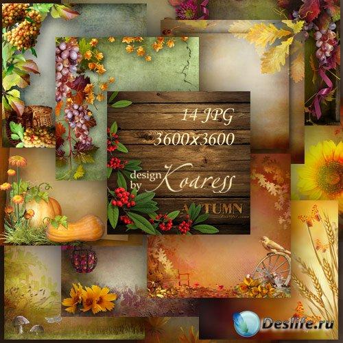 Набор осенних фонов для фотошопа с цветами, грибами, ягодами, листьями