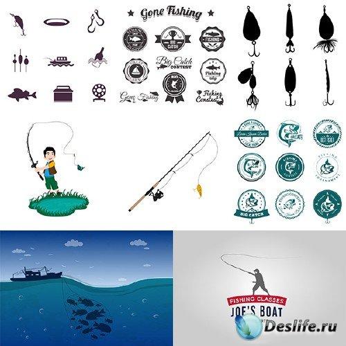 Рыболовные эмблемы и снасти в векторе