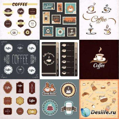 Кофе - наклейки, предметы, чашки, зерна в векторе