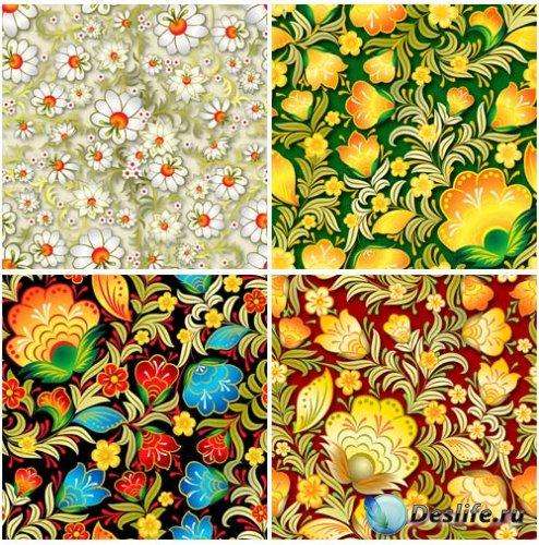 Яркие цветочные орнаменты в векторе