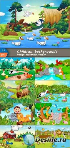 Векторные детские фоны для дизайна