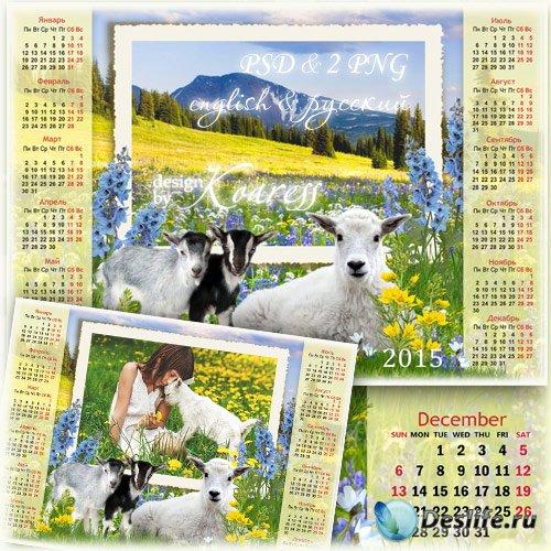 Календарь с рамкой на 2015 год Козы с симпатичными козочками на альпийском  ...