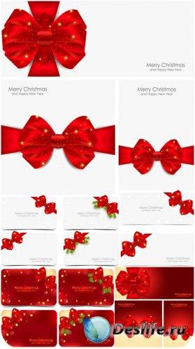 Праздничные карточки, рождественские фоны в векторе / Holiday cards, Christ ...