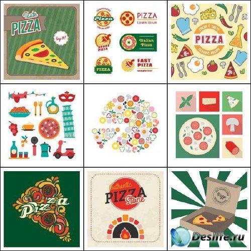 Аппетитная пицца и её составляюшие в векторном исполнении