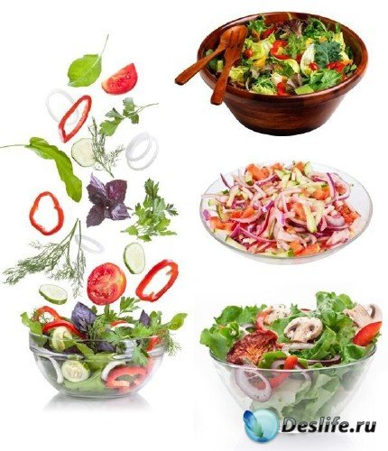 Овощной салат на белом фоне (подборка фото)