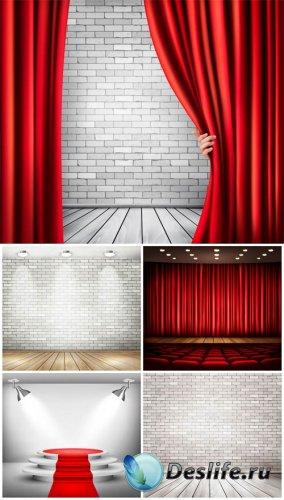 Сцена и занавес, подиум в векторе / The stage and the curtain podium vector