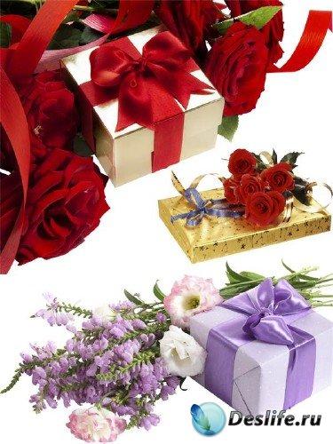 Цветы и коробки (подборка клипарта)