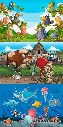 Мультяшные прицы и рыбы - векторный сборник