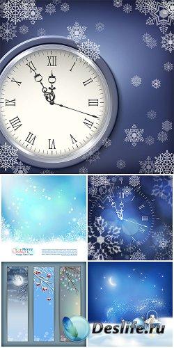 Рождественский вектор, новогодние куранты, зимние фоны / Christmas vector